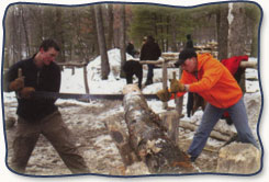 Campers sawing a log at Bald Eagle Boys Camp