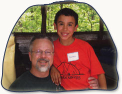 Therapeutic camper with father