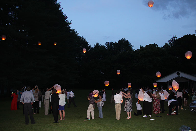 launching Japanese lanterns at a mother and son banquet